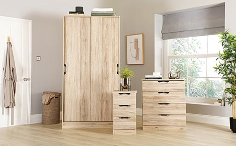 Camden Oak 3 Piece 2 Door Sliding Wardrobe Bedroom Furniture Set