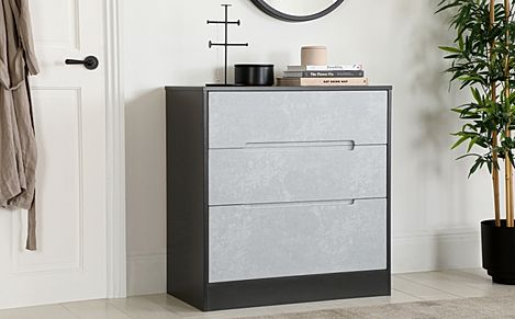 Monaco Graphite and Concrete 3 Drawer Chest of Drawers