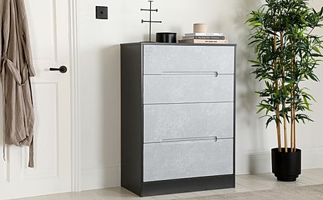 Monaco Graphite and Concrete 4 Drawer Chest of Drawers