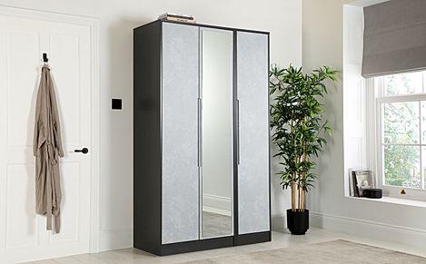 Monaco Graphite and Concrete Tall 3 Door Wardrobe with Mirror
