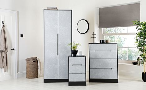 Monaco Graphite and Concrete 3 Piece Tall 2 Door Wardrobe Bedroom Furniture Set