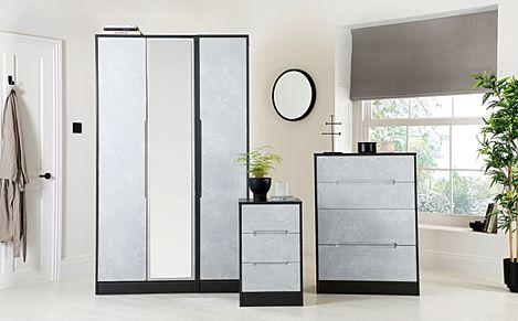 Monaco Graphite and Concrete 3 Piece Tall 3 Door Wardrobe Bedroom Furniture Set