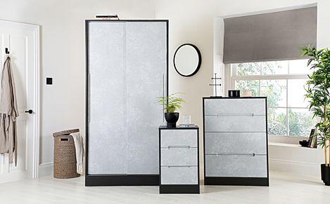 Monaco Graphite and Concrete 3 Piece 2 Door Sliding Wardrobe Bedroom Furniture Set