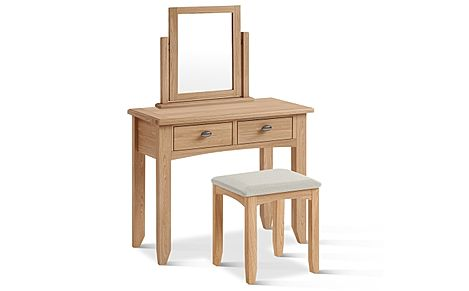 Arden Light Oak Dressing Table, Stool and Mirror Set