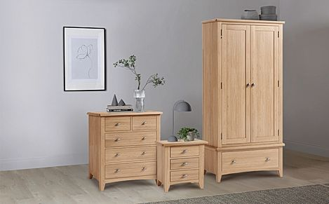 Arden Light Oak 3 Piece 2 Door Wardrobe Bedroom Furniture Set