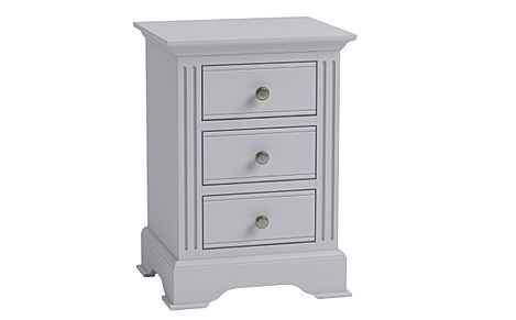 Berkeley Painted Grey 3 Drawer Bedside Table