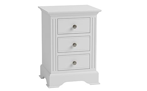 Berkeley Painted White 3 Drawer Bedside Table