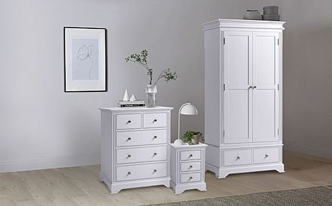 Berkeley Painted Grey 3 Piece 2 Door Wardrobe Bedroom Furniture Set