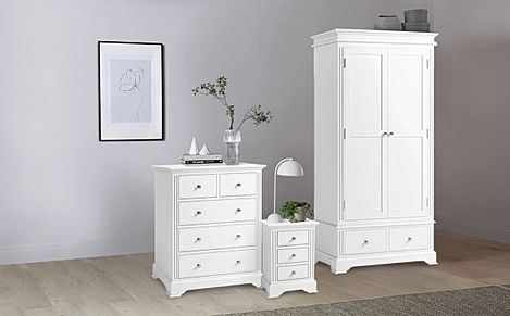 Berkeley Painted White 3 Piece 2 Door Wardrobe Bedroom Furniture Set