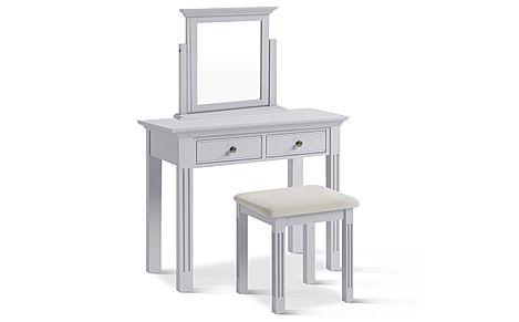 Berkeley Painted Grey Dressing Table Stool and Mirror Set