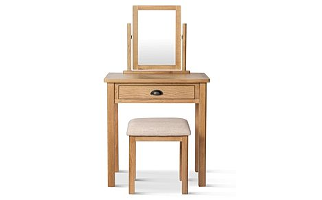 Derwent Oak Dressing Table, Stool and Mirror Set