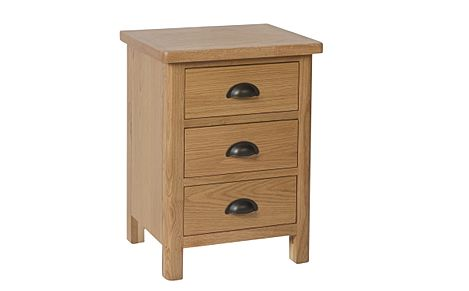 Derwent Oak 3 Drawer Bedside Table
