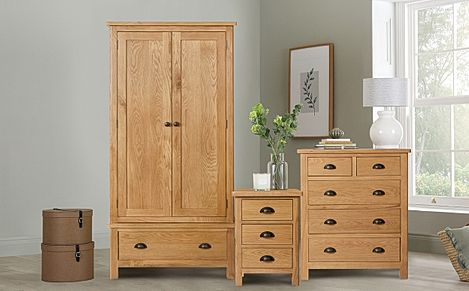 Derwent Oak 3 Piece 2 Door Wardrobe Bedroom Furniture Set
