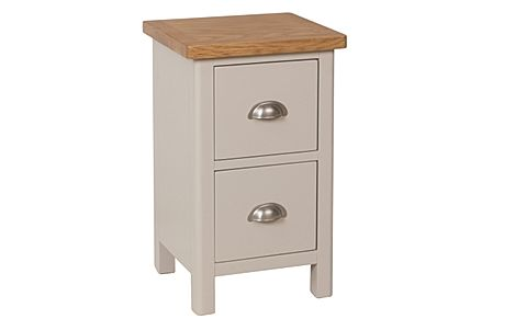 Newton Painted Grey and Oak 2 Drawer Bedside Table