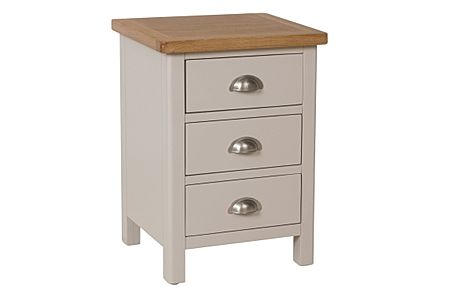 Newton Painted Grey and Oak 3 Drawer Bedside Table