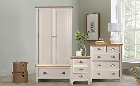 Newton Painted Grey and Oak 3 Piece 2 Door Wardrobe Bedroom Furniture Set