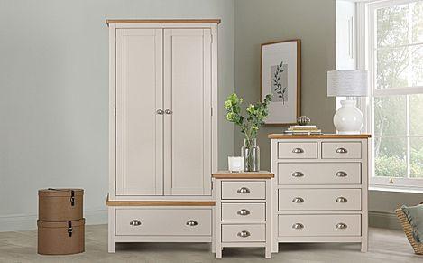 Newton Painted Grey and Oak 3 Piece 2 Door Wardrobe Bedroom Furniture Set