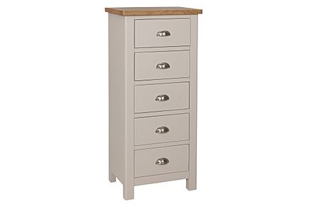 Newton Painted Grey and Oak 5 Drawer Tall Narrow Chest of Drawers