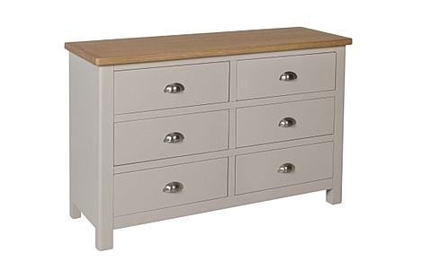 Newton Painted Grey and Oak 6 Drawer Chest of Drawers
