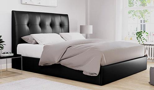 Caversham Black Leather Bed – Double