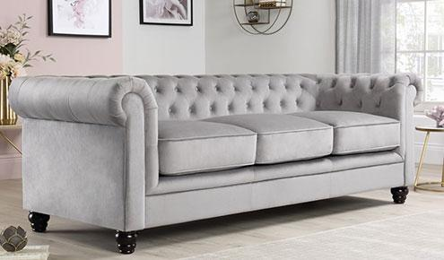 Hampton Grey Velvet Fabric Chesterfield Sofa - 3 Seater