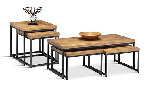 Clayton Solid Oak and Gunmetal Coffee and Side Tables Set