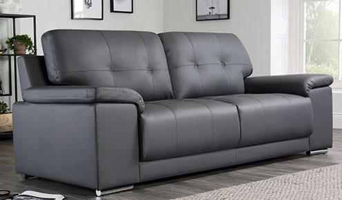 Kansas Grey Leather Sofa - 3 Seater