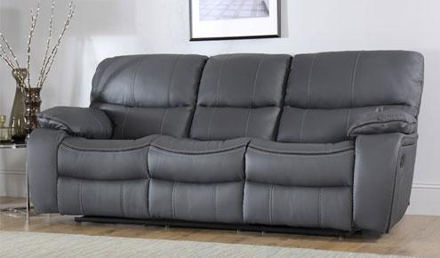 Beaumont Grey Leather Recliner Sofa - 3 Seater