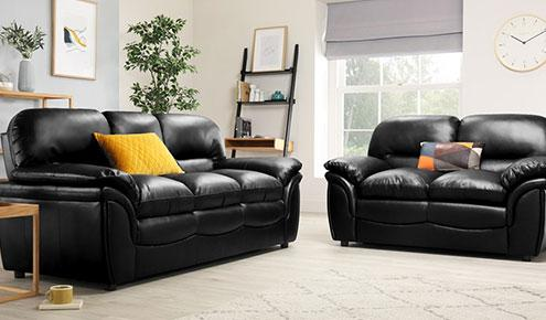 Rochester Black Leather Sofa - 3+2 Seater