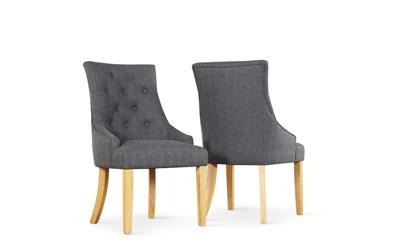 Duke fabric button back chair slate oak leg