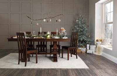 Cavendish dark wood dining table with Chester chairs