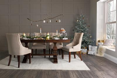 Cavendish dark wood dining table with Duke oatmeal dining chairs