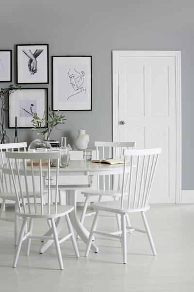 Hudson white wood dining table