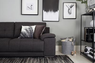 Kansas slate fabric 3 seater sofa