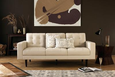 Carlton ivory 2-seater leather sofa