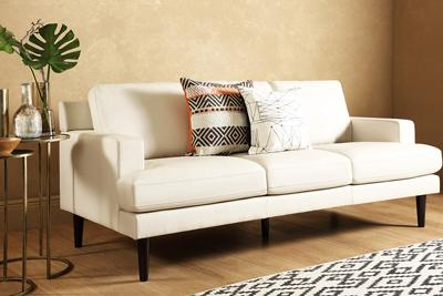 Finsbury ivory 2-seater leather sofa