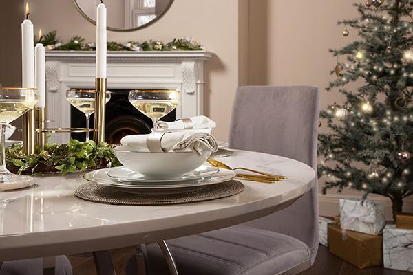 Savoy White Marble Table Grey Plume Velvet Chairs