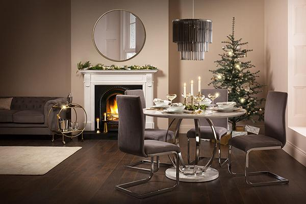 Savoy White Marble Table Perth Grey Velvet Chairs