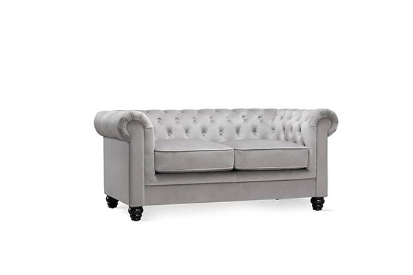 hampton grey velvet 2 seater