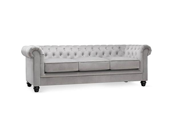 hampton grey velvet 3 seater