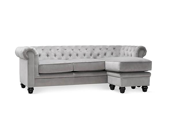 hampton grey velvet L shape