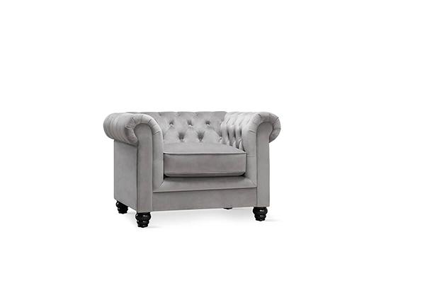 hampton grey velvet armchair