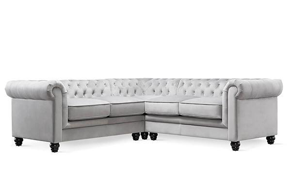 hampton grey velvet corner