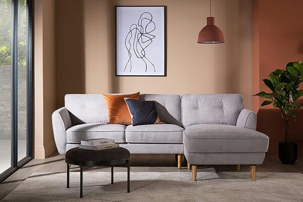 Harlow Dove Grey L Shaped Sofa