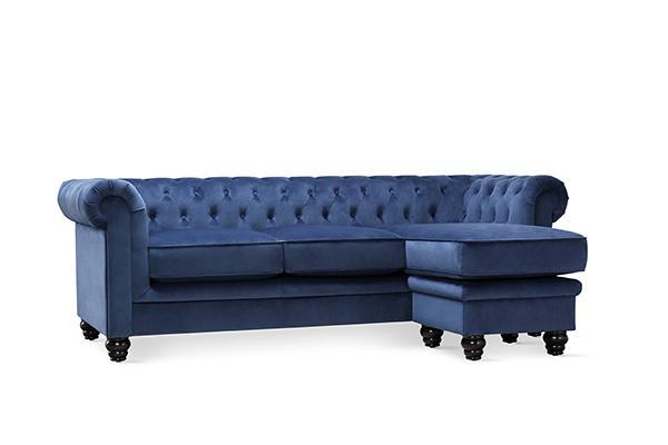 FC Hampton blue velvet L shaped corner sofa