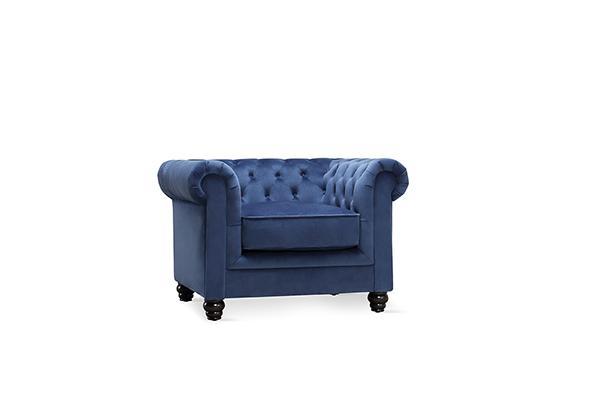FC Hampton blue velvet armchair