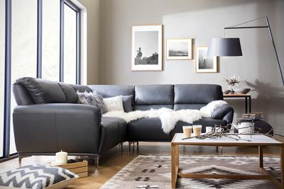 Enzo grey corner sofa