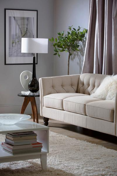 Sanderson oatmeal three seater sofa