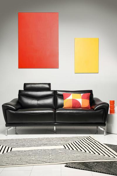 Farrington black 3-seater sofa