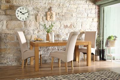 Cambridge oak 175cm table Stamford oatmeal chair